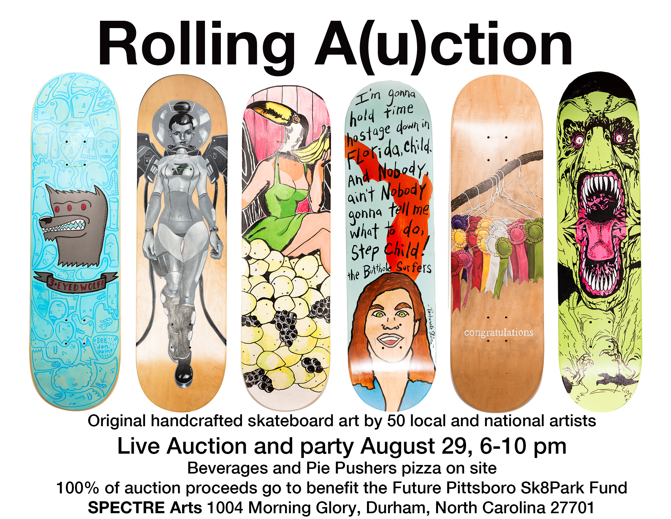 Fri, August 29, 6-10PM :: Pittsboro Skate Park, Rolling A(u)ction